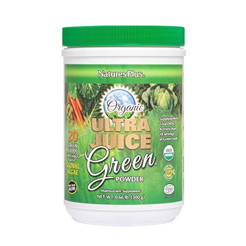 Nature's Plus Ultra Juice Green Powder - 300g, Organic Green Drink - Multinutrient Supplement, 20 Whole Green Foods & Global Algae- Gluten Free - 60 Servings