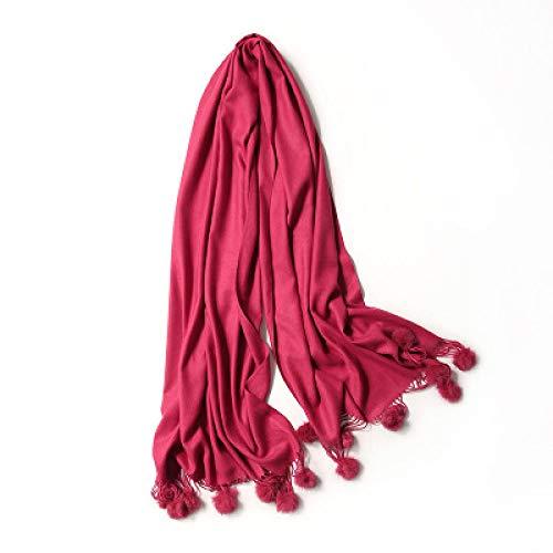 AUBERSIY Schal Warmer WinterPom Schal Rosa Dick Mit Ball Große Stola Lady Wrap Schal Oversize Decke, Dunkelroter Pom Schal, 200,60 cm