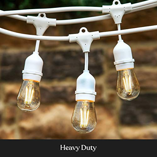 Brightech Ambience Pro - White, Waterproof LED Outdoor String Lights - Hanging 2W Vintage Edison Bulbs - 48 Ft Cafe Lights Create Bistro Ambience in Your Gazebo, Back Yard