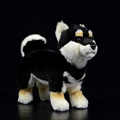 KXCAQ 20 cm de pie Suave Blanco japonés Shiba Inu Juguetes de Peluche Perro Realista Animal de Peluche Chico Juguete Navidad cumpleaños Regalos 20 cm Negro
