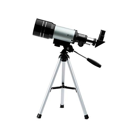 DQQ Teleskope Kinder Einsteiger Teleskop für Astronomie Refraktorteleskop mit Stativ Schwarz 70mm,3X Barlow Objektiv