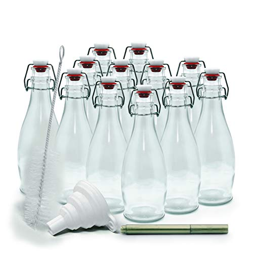 mockins Set of 12 | 8.5 oz Glass Bottle Set with Swing Top Stoppers and Includes Bottle Brush , Funnel and Gold Glass Marker | Clear Glass Water Bottle