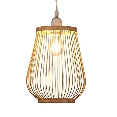 SHUANF Lámpara de Tejido de bambú de Estilo nórdico Lámpara Colgante de Jaula de Simplicidad Moderna Araña de ratán Creativa Accesorio de iluminación E27 para Bar cafetería Luces de Tejido de mimbr