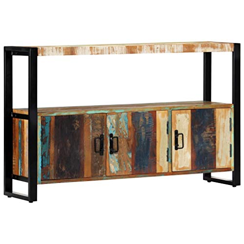 vidaXL Sideboard mit 3 Türen 1 Ablagefläche Kommode Schrank Anrichte Konsolentisch Beistelltisch Beistellschrank 120x30x75cm Recyceltes Massivholz