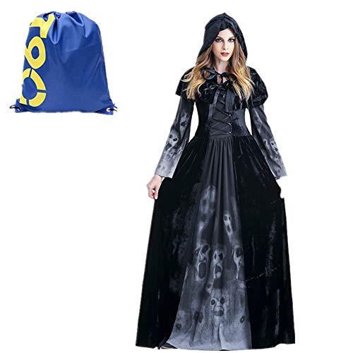 Much-Green Damen Hexen Kostüm,Zombie Kostüm Damen Langarm Vampir Kleid Schwarz Hexen Umhänge Kapuze Halloween ,Vampir Langes Robe Kostüme für Cosplay