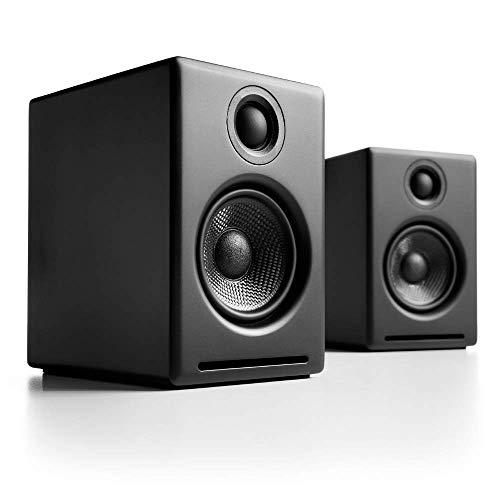 Audioengine A2+ 60W Aktiver Desktop-Lautsprecher | Integrierter DAC & Analogverstärker | Direkter USB-Anschluss, 3,5 mm-Klinke und Cinch-Eingänge | Kabel inklusive (Bluetooth - Wireless, Schwarz)