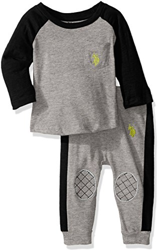U.S. Polo Assn. Baby Boys' Long Sleeve Slub Jersey Raglan Crew Neck Pullover and French Terry Joggers, Medium Heather Gray, 3-6 Months