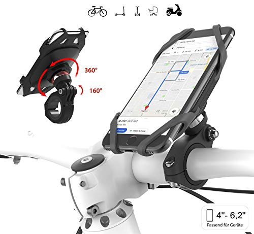 Plp tek Go-Ride-Smart Universele mobiele telefoonhouder voor fiets, motor, mountainbike, UNIEKSE JOINT 360° draaibaar, 160° kantelbaar voor een optimale kijkhoek voor iPhone, Samsung etc.
