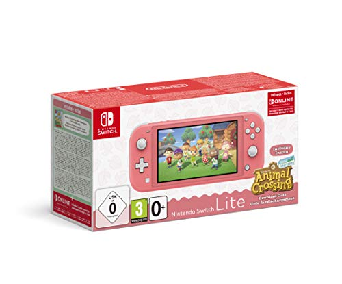 Console Nintendo Switch Lite Corail + Animal Crossing : New Horizon + 3 mois d'abonnement Nintendo Switch Online
