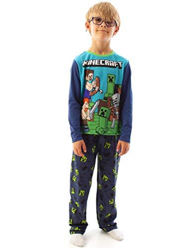Minecraft Pijamas Niños Steve Creeper PJs Azul Ropa De Dormir para Niños