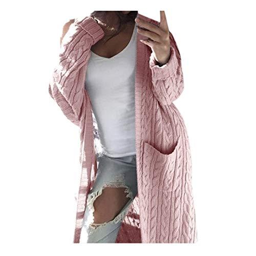 Xiangdanful Damen Strickjacke Lang Cardigan Strickmantel Herbst Winter Sweater Casual Langarm Outwear Strickpullover Coat Wasserfall Gestrickt Sweatshirt Knitted Übergangsjacke (L, Rosa)