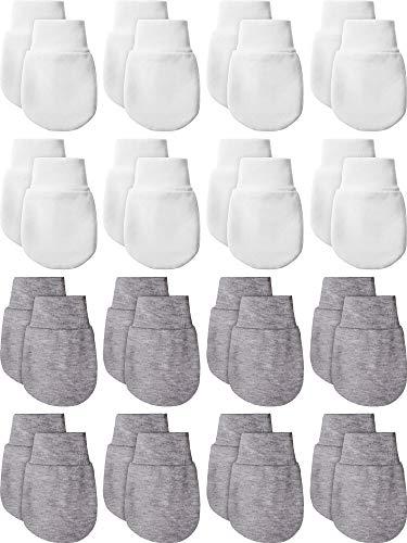 14 Paare Neugeborene Baby Fäustlinge Handschuhe Baumwolle Kleinkind Säugling Kein Kratzen Handschuhe für 0-6 Monate Baby Jungen Mädchen (Weiß, Grau)