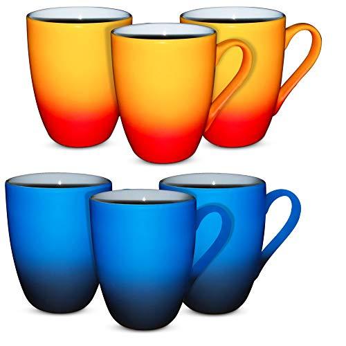 MIAMIO - 6er Set 350ml Kaffeetassen mit Farbverlauf mit Geschenkbox (Blau-Schwarz/Rot-Orange)