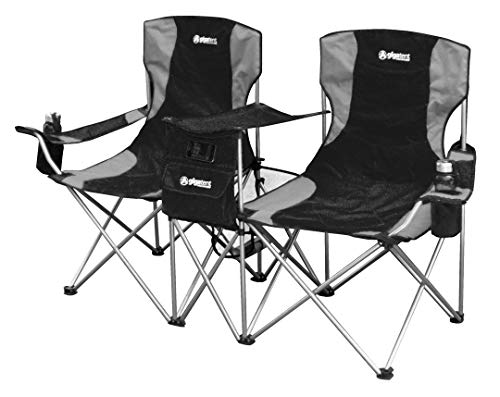 GigaTent Double Outdoor Chairs – 2 Side by Side Folding Quad Camping Seats - Heavy Duty Steel Frame, Lightweight and Compact - Cup Holders, Mesh Storage Pouches and Carrying Bag