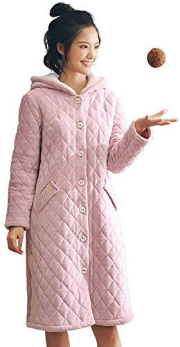 LILAODA Ladies Comfort Cotton Pyjamas Warmer Winter Coral Fleece Pyjama Dreischichtiger gesteppter Pyjama Flanell Kapuze Home Service Plus Samt Dicker Pyjama XL-X-Large Perfect