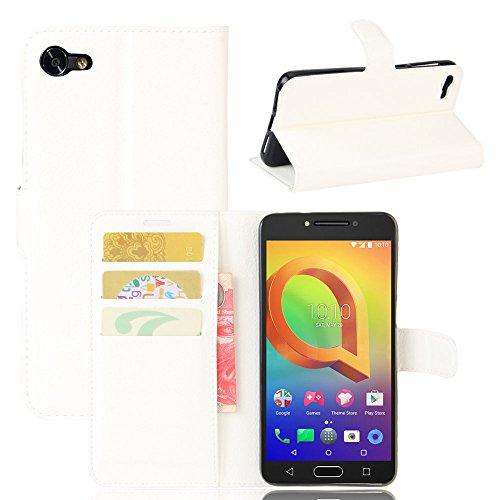 Tasche für Alcatel A5 Led (5.2 zoll) Hülle, Ycloud PU Ledertasche Flip Cover Wallet Hülle Handyhülle mit Stand Function Credit Card Slots Bookstyle Purse Design weiß