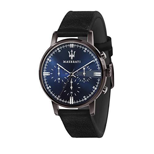 Orologio da uomo, Collezione Eleganza Maserati, movimento al quarzo, multifunzione, in acciaio, PVD canna di fucile e pelle - R8871630002