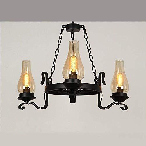 Lámpara de luz 6 cabezas de araña, 3 faros, rueda de carruaje, lámpara de cristal, lámpara de araña vintage para restaurante, bar, salón, cafetería, teahouse (color: 3 cabezas), color: 6 cabezas