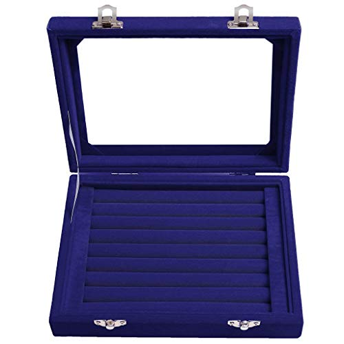 7 Slot Velvet Jewelry Rings Display Tray Earring Storage Case Jewelry Storage Box, Home & Garden, for Christmas New Year (Blue)