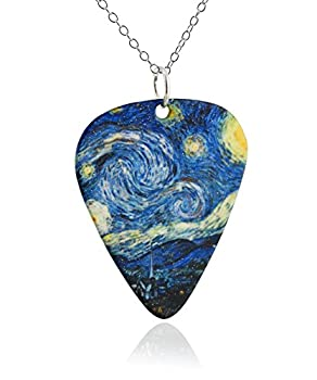 Van Gogh Starry Night Guitar Pick Pendant Necklace Stainless Steel 18  Sterling Silver Chain