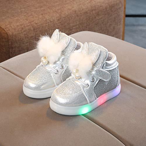 Riou Calzado Infantil Bebé Zapatos Luces Niños Niñas Dibujos Animados Conejo LED Ocio Zapatos Ligeros Transpirables Antideslizante Bebe Chicos Chicas Zapatos Calzado