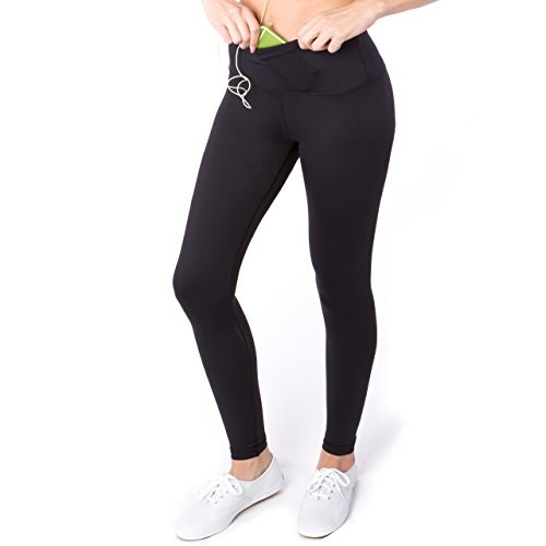 Sport-it Yoga Pants for Women, Workout Running Leggings with Pockets and Tummy Control, Black Athletic High Waisted Tights