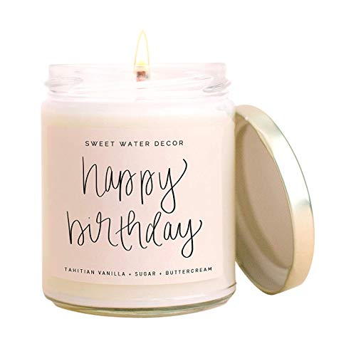 Sweet Water Decor, Happy Birthday, Vanilla, Sugar, and Buttercream Sweet Scented Soy Wax Candle for Home | 9oz Clear Glass Jar, 40 Hour Burn Time, Made in the USA