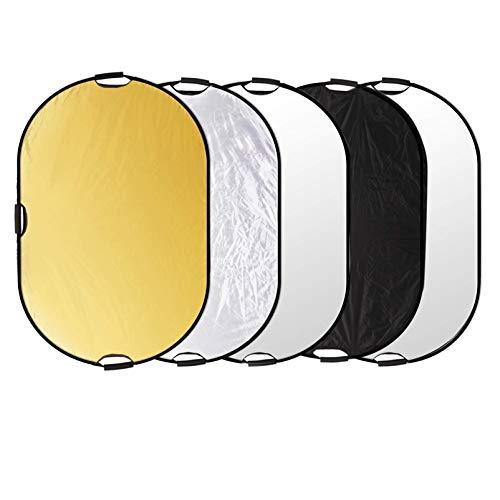 Selens 5-in-1 100x150cm Oval Reflektor Tragbarer Faltbarer für Fotografie Fotostudio Beleuchtung Außenbeleuchtung Studio Diffusor Reflector Durchlässig, Weiß, Schwarz, Silber, Gold Oberfläche