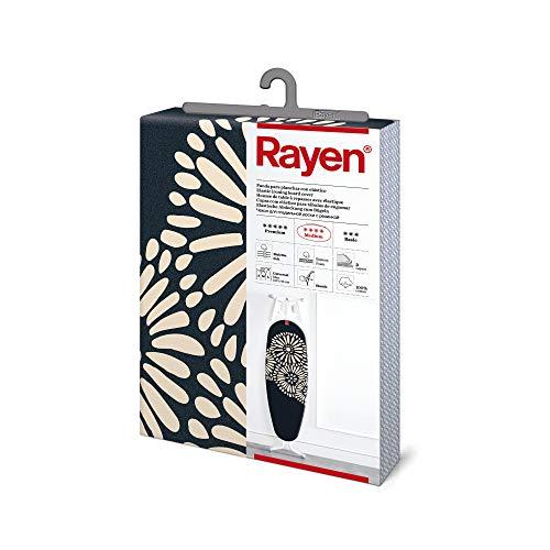 Rayen - Funda para tabla de planchar Universal (funda de planchar elástica, alcolchada y fácil de colocar), 3 capas: Espuma, Muletón y tejido 100% de algodón. Gama Medium de Rayen. 127x51 cm, Azul Marino Flor Beige