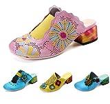 gracosy Zapatillas de Cuero para Mujer, Sandalias Block Heel Mule Zapatos para Mujer de Verano Sandalias Planas al Aire Libre Flor Vintage Backless Loafer Shoes Zapatillas de jardín de casa