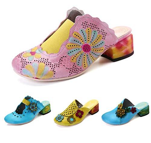 gracosy Damen Pantoletten, Sommer Leder Sandalen Leder Vintage Slipper Clogs Espadrilles Bequem Anti-Rutsch Bunte Blume Hausschuhe Pink 41