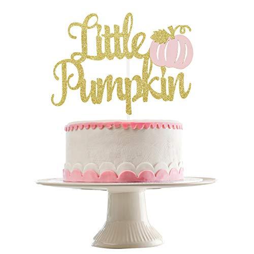 Gold Glittery Little Pumpkin Cake Topper- Shower Cake Topper...