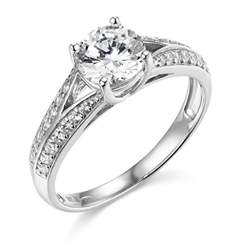 The World Jewelry Center .925 Sterling Silver Rhodium Plated Wedding Engagement Ring - Size 6