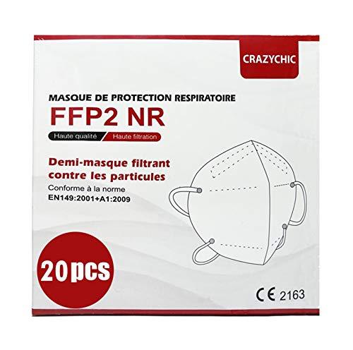 CRAZYCHIC - Atemschutzmaske FFP2 - CE Zertifiziert EN 149 Schutzmaske - Mundschutzmaske - Staubschutzmaske - Hohe Filtration Maske 20 Stück