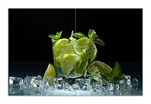 Wallario Herdabdeckplatte/Spritzschutz aus Glas, 2-teilig, 80x52cm, für Ceran- und Induktionsherde, Motiv Mojito - Cocktail mit Limetten, EIS und Minze