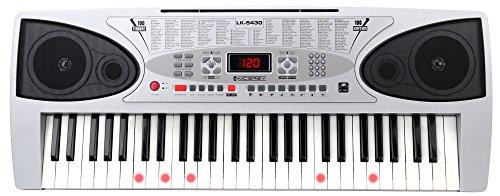 McGrey LK-5430 verlichte toetsen keyboard (54 toetsen, waarvan 32 lichte toetsen met LED, 100 klankkleuren, 100 ritmes, leerfunctie, microfoon, voeding, muziekstandaard)