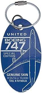 【正規代理店】機体キーホルダー ボーイング PLANETAGS B747 N198UA 青 ユナイテッド航空 飛行機 航空雑貨 エアライン雑貨 コレクション