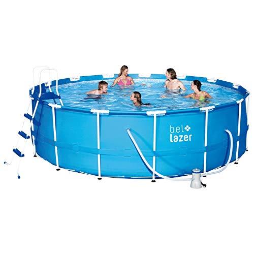 Piscina Bel Life Armação 16.000l + Filtro 220 V + Cobert 4.57 M + Lona 4.88 M + Escada 1.22 M Bel Fix Azul