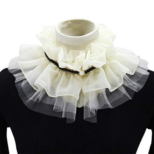 BASSK - Collar de moda con cuello falso de perlas de gasa, cuello de muñeca, cuello desmontable y cuello de camisa para mujer