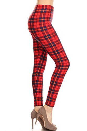 S623-EXTRAPLUS Plaid Connoisseur Print Fashion Leggings