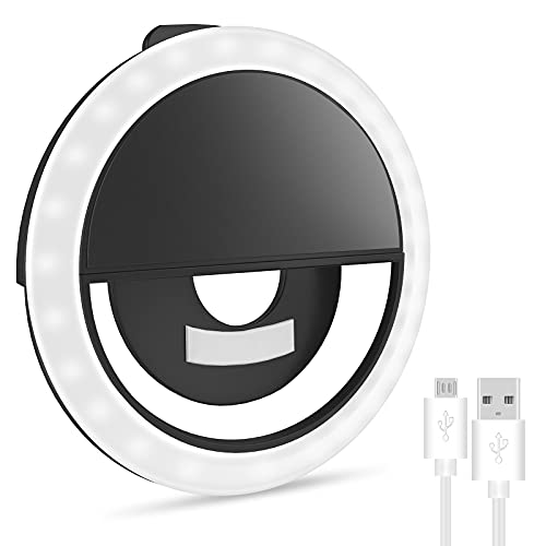 Selfie Ring Light for iPhone & Android, Rechargeable Portable Clip-on Selfie Light for Smart Phone Camera, Girls Makeup, Zoom, TIK tok, YouTube(Black)