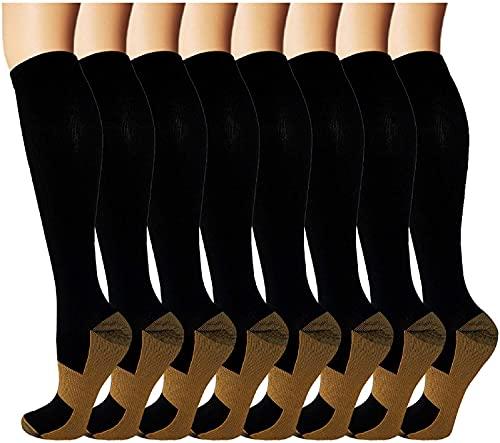 EULAY Calcetines de compresión graduados para hombre y mujer (8 pares) 15-20 mmHg Mejor para correr, senderismo, recuperación, correr, senderismo, viajes en avión, enfermeras, Surtido 1, L XL