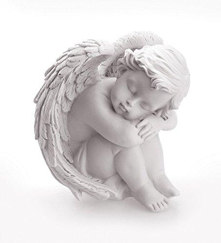 TEMPELWELT Deko Engel Figur Sitzend Schlafend 12 cm, Polystein Weiß, Schöne Engelfigur Schutzengel Engelkind Dekoengel Engelchen Träumend