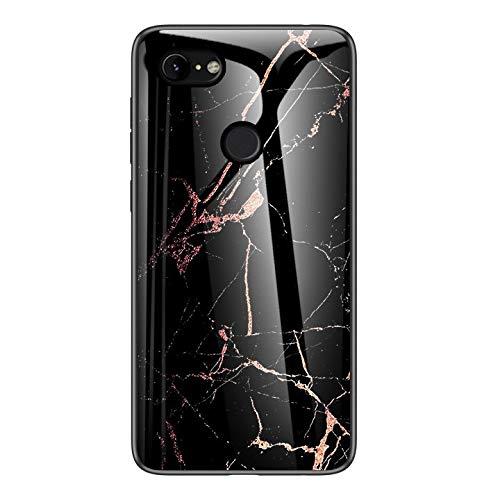 Duurzame telefoonhoes voor Google Pixel 3 Case, model van gehard marmer voor vitrine, valbescherming van TPU, schokbestendig, Zwart Goud