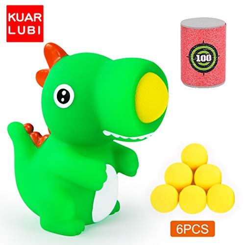 KUARLUBI T-Rex Dinosaur Toy Shooter Ball Blaster - Animal Popper with 6 Foam Ball - Indoor and Outdoor Play for Age 4+