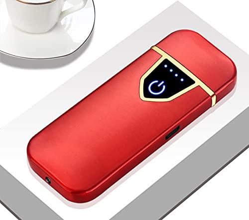 Encendedor de arco, encendedor eléctrico, cigarrillo electrónico sin gas eléctrico USB carga encendedores Sensing Switch doble encendedor a prueba de viento sin llama 711-rojo