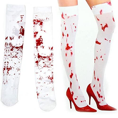 Halloween enfermera tema traje accesorios crneo esqueleto sangrado medias adultos mujeres terciopelo pantyhose negro/blanco, Blanco, Talla nica