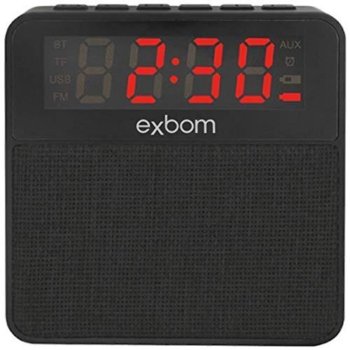 Rádio Relógio Digital com Caixa de Som Bluetooth Preto Exbom CS-MT3BT