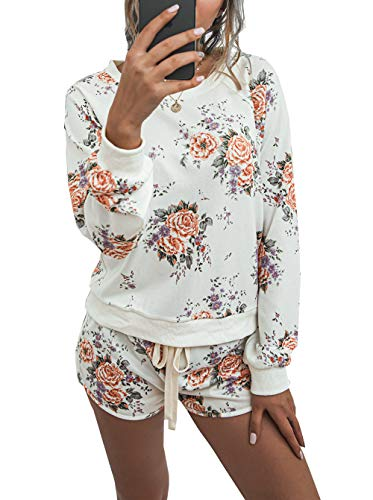PRETTYGARDEN Women's Tie Dye Printed Pajamas Set Long Sleeve Tops with Shorts Lounge Set Casual Two-Piece Sleepwear White