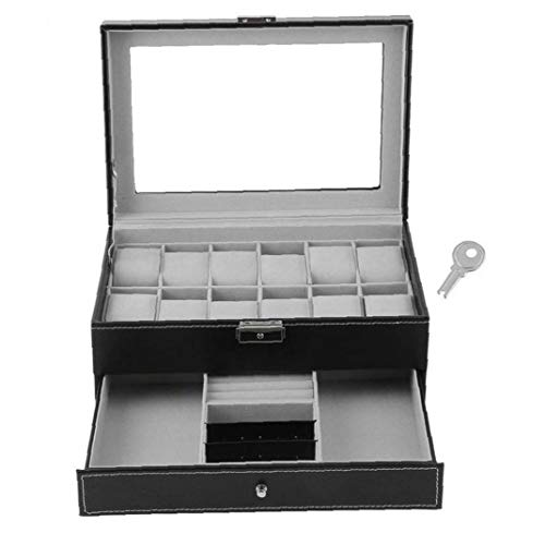 NaisiCore Caja de Reloj Organizador Negro PU de Doble Capa-Caja de Reloj con Pantalla de Cristal y joyería Presente del día de San Valentín de la Bandeja del cajón Organizador